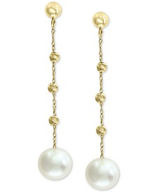 EFFY® Cultured Freshwater Pearl (8mm) Beaded Drop Earrings in 14k Gold