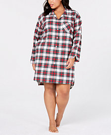 Charter Club Plus Size Flannel Sleepshirt, Created for Macy's