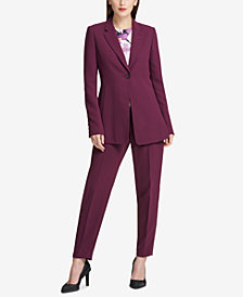 DKNY One-Button Long Jacket & Fixed-Waist Skinny Pants, Created for Macy's