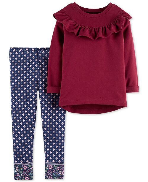 1c7747701fb6d Carter's Toddler Girls 2-Pc. Ruffle Top & Jacquard Leggings Set ...
