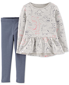 Carter's Toddler Girls 2-Pc. Dinosaur-Print Peplum Top & Leggings Set