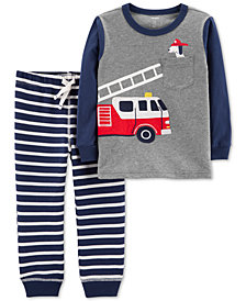 Carter's Toddler Boys 2-Pc. Firetruck Cotton Shirt & Joggers Set