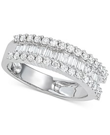 Diamond Baguette Cluster Band (1 ct. t.w.) in 14k White Gold or Yellow Gold