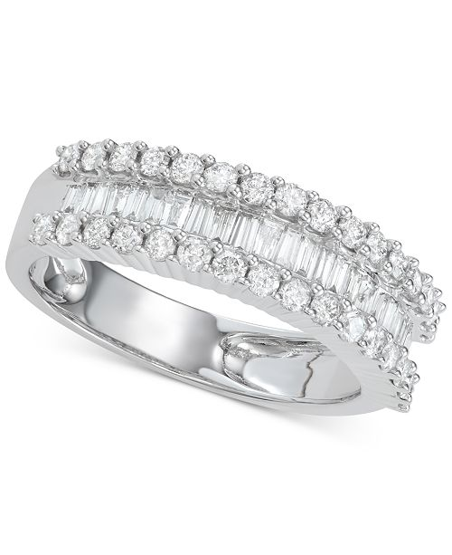 Macy's Diamond Baguette Cluster Band (1 ct. t.w.) in 14k White Gold or Yellow Gold