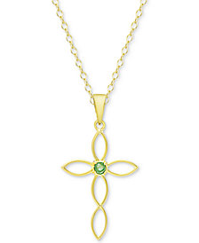 "Emerald Accent Cross 18"" Pendant Necklace in 18k Gold-Plated Sterling Silver"
