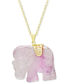 "Rose Quartz (27mm) Elephant 18"" Pendant Necklace in 18k Gold-Plated Sterling Silver"