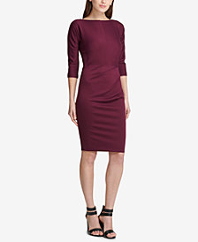 DKNY Ruched Ponté-Knit Sheath Dress, Created for Macy's