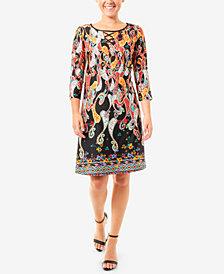 NY Collection Printed Lattice Keyhole Dress