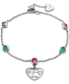"Cubic Zirconia ""Blind for Love"" Heart Charm Bracelet in Sterling Silver"
