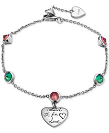 "Gucci Cubic Zirconia ""Blind for Love"" Heart Charm Bracelet in Sterling Silver, YBA502150001017"