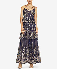 BCBGMAXAZRIA Embroidered Tiered Gown