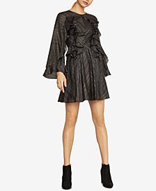 BCBGMAXAZRIA Metallic Ruffle Dress