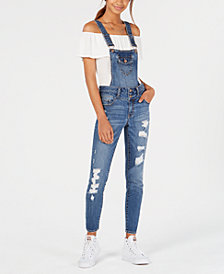 Dollhouse Juniors' Ripped Skinny Denim Convertible Overalls