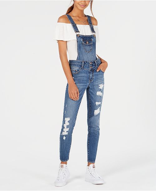 58076cd5bdc5 ... Dollhouse Juniors  Ripped Skinny Denim Convertible Overalls ...