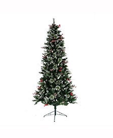 7' Snow Tipped Pine and Berry Artificial Christmas Tree Unlit