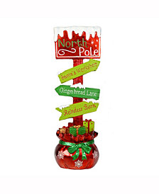 "37"" Red and Green Directional North Pole Sign"