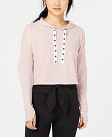 Material Girl Juniors' Mesh Cropped Sweatshirt, Created for Macy's