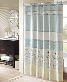 "Serene 72"" x 72"" Faux Silk Embroidered Floral Shower Curtain"