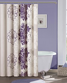 """Lola 72"""" x 72"""" 100% Cotton Floral Printed Shower Curtain"""