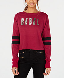 Material Girl Juniors' Metallic-Graphic Varsity-Stripe T-Shirt, Created for Macy's
