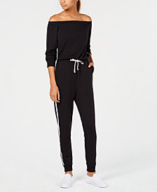 Material Girl Juniors' Off-The-Shoulder Track Jumpsuit, Created for Macy's