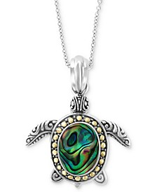 "EFFY® Paua Shell Turtle 18"" Pendant Necklace in Sterling Silver & 18k Gold"