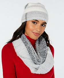 Calvin Klein 2-Pc. Colorblocked Fuzzy Scarf & Hat Set