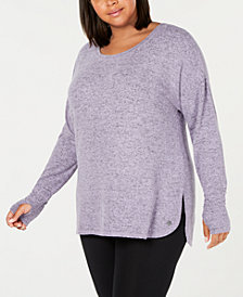 Ideology Plus Size Long-Sleeve T-Shirt, Created for Macy's