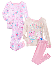 Peppa Pig 4-Pc. Bedtime Stories Cotton Pajama Set