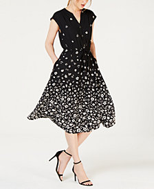 Anne Klein Printed Cap-Sleeve Dress