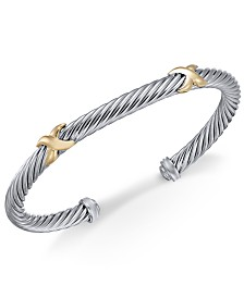 Cable Cuff Bangle Bracelet in Sterling Silver & 14k Gold