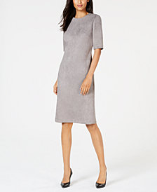 Anne Klein Faux-Suede Elbow-Sleeve Dress