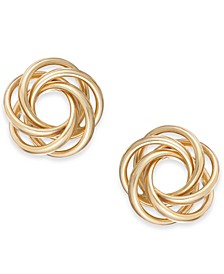 Multi-Ring Love Knot Stud Earrings in 14k Gold