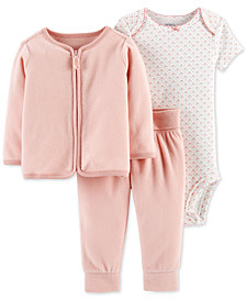 Carter's Baby Girls 3-Pc. Cotton Bodysuit, Fleece Cardigan & Pants Set