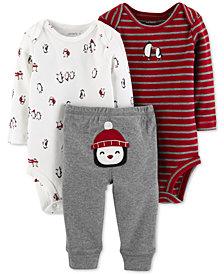 Carter's Baby Boys 3-Pc. Printed Cotton Bodysuits & Pants Set