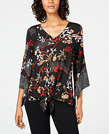 Alfani Mixed-Print Tie-Front Top, Created for Macy's