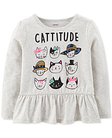 Carter's Baby Girls Cattitude-Print Cotton T-Shirt