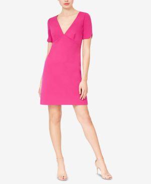BETSEY JOHNSON Short-Sleeve Scuba Crepe Dress in Pink