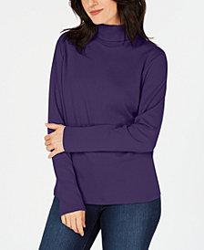 Karen Scott Petite Long-Sleeve Cotton Turtleneck, Created for Macy's