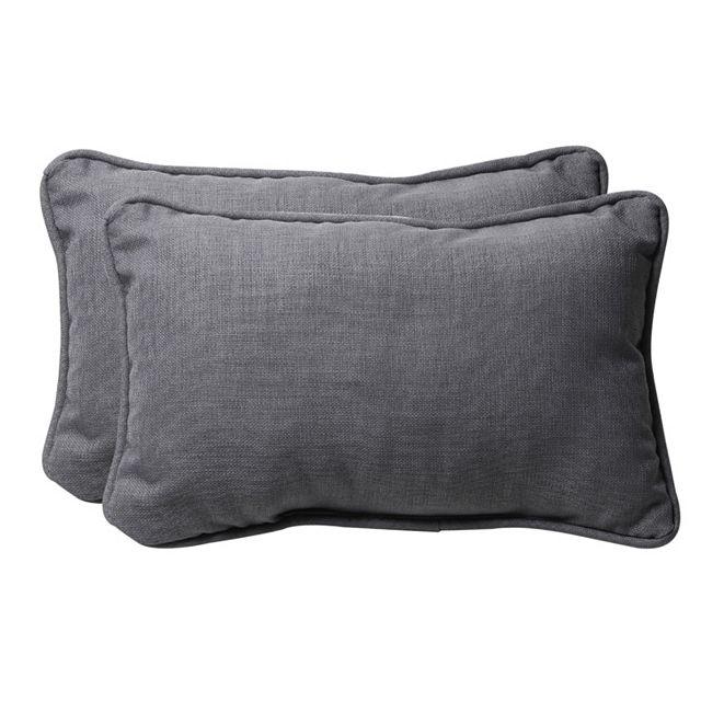 Pillow Perfect Rave Graphite Rectangular Throw Pillow, Set of 2