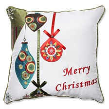 """Holiday Ornaments Red/Green 16.5"""" Throw Pillow"""