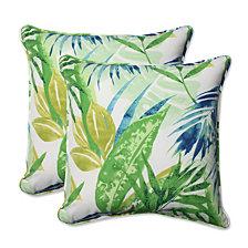 """Soleil Blue/Green 18.5"""" Throw Pillow, Set of 2"""