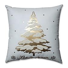 """Glamour Single Tree Gold-White 17.5"""" Throw Pillow"""