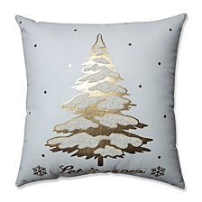 "Glamour Single Tree Gold-White 17.5"" Throw Pillow"