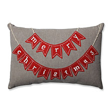 Country Home Merry Christmas Red/Biscuit Rectangular Throw Pillow