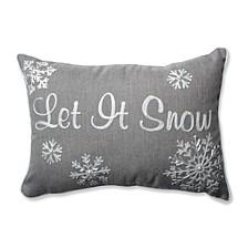Let It Snow Grey Rectangular Throw Pillow