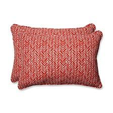 Herringbone Tomato Over-sized Rectangular Throw Pillow, Set of 2