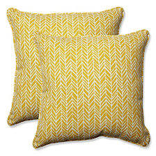 "Herringbone Egg Yolk 18.5"" Throw Pillow, Set of 2"