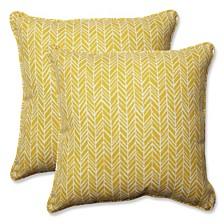 "Herringbone Egg Yolk 18.5"" Throw Pillow, Set of 2"