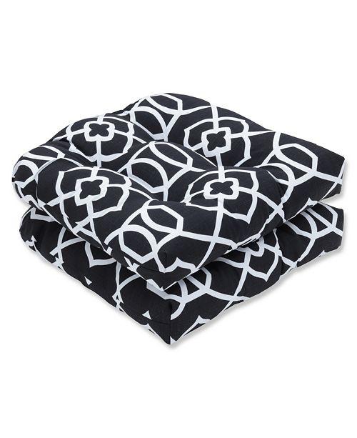 Pillow Perfect Kirkland Black Wicker Seat Cushion, Set of 2
